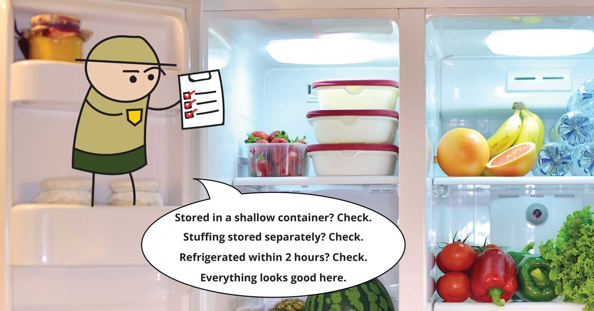 Stored in a shallow container? Check. Stuffing stored separately? Check. Refrigerated within 2 hours? Check. Everything looks good here.