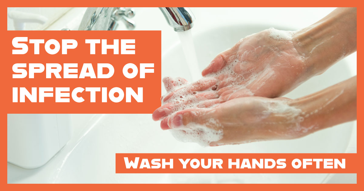 A person washing their hands with a message that says: Stop the spread of infection. Wash your hands.